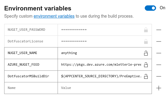 Screenshot of set variables